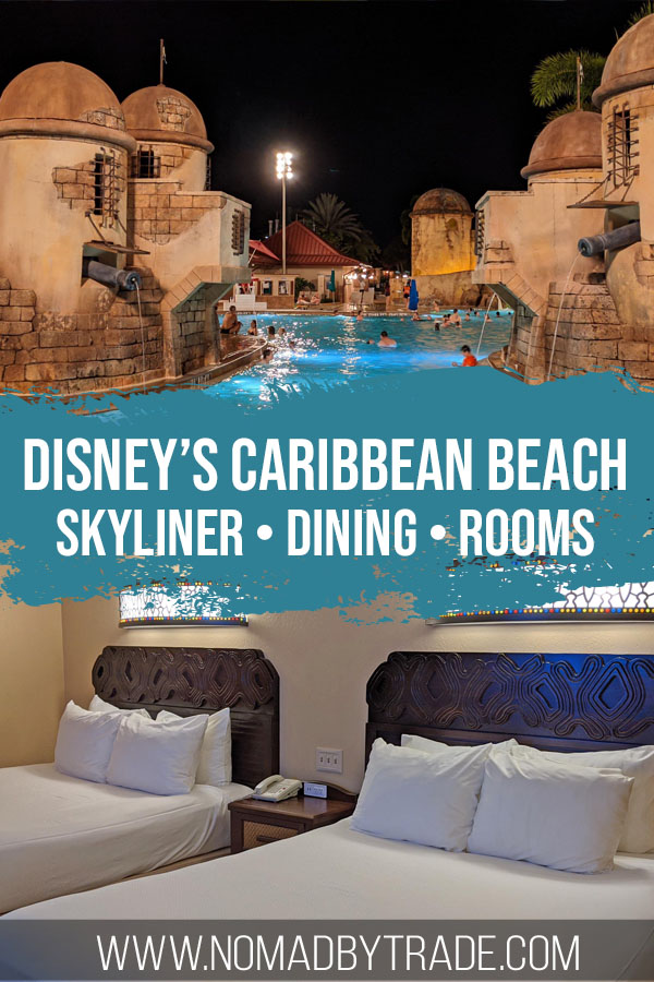 """Photo of a fortress-themed pool and hotel room beds with text overlay reading """"Disney's Caribbean Beach - Skyliner, dining, rooms"""""""