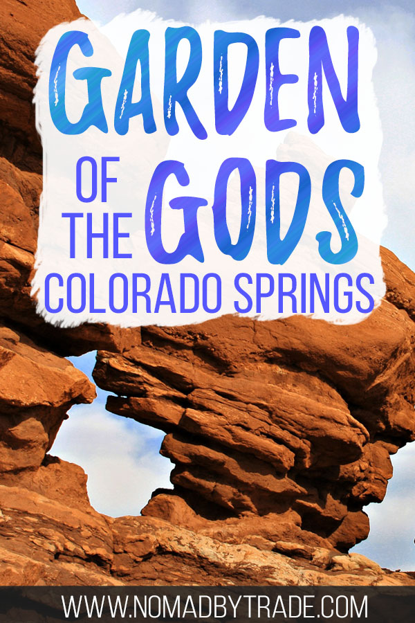Rock formations at Garden of the Gods in Colorado Springs with text overlay