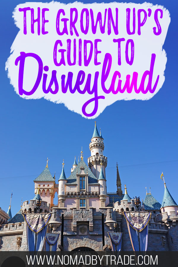 """Sleeping Beauty castle with text overlay reading """"The Grown up's guide to Disneyland"""""""