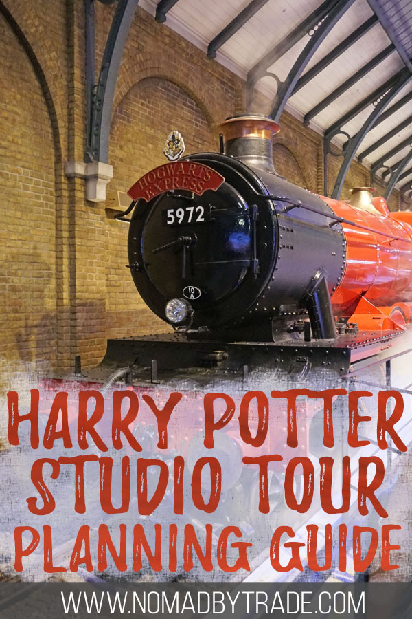"""Hogwarts Express train with text overlay reading """"Harry Potter Studio Tour planning guide"""""""