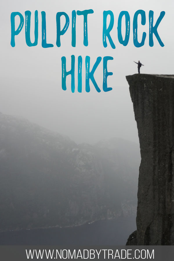 """Person standing on Norway's Pulpit Rock with text overlay reading """"Pulpit Rock Hike"""""""