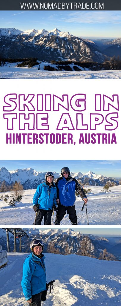 Skiing in the Alps was a bucket list item for my family. We achieved our dreams at Hinterstoder Hoss in Austria. The ski resort has great runs for expert and moderate skiers, and is an easy day trip from Salzburg or Linz. Check out this gorgeous place to ski in Austria. #Austria | #Hinterstoder | Skiing in Austria | Skiing the Alps
