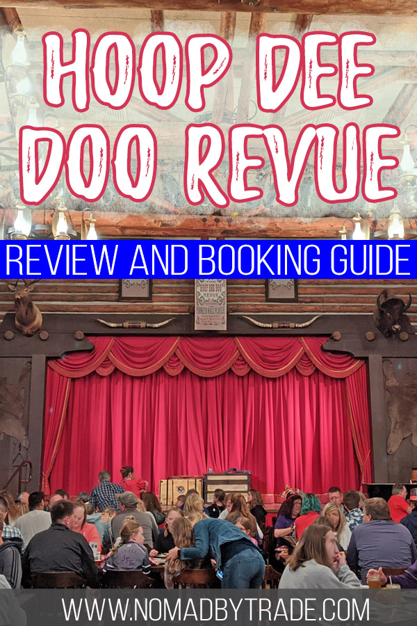 """Photo of the stage at Fort Wilderness' Hoop Dee Doo Revue with text overlay reading """"Hoop Dee Doo REvue review and booking guide"""""""