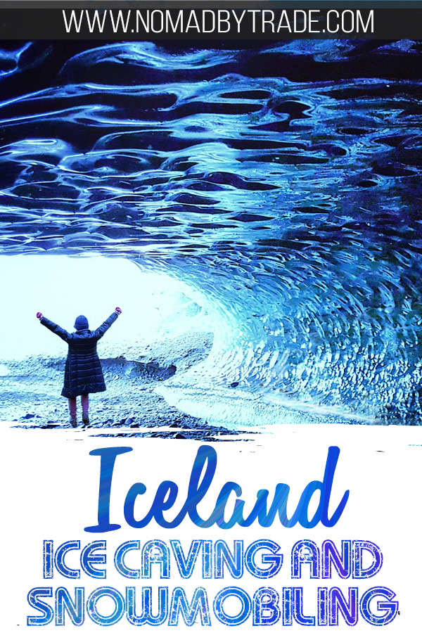 Person inside of a blue ice cave in Iceland with text overlay