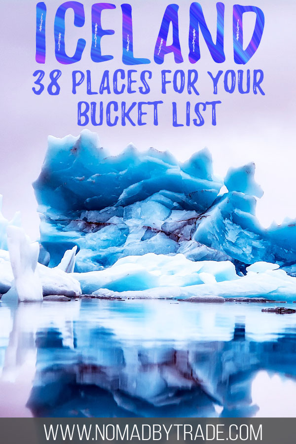 """Photo of icebergs with text overlay reading """"Iceland - 38 places for your bucket list"""""""