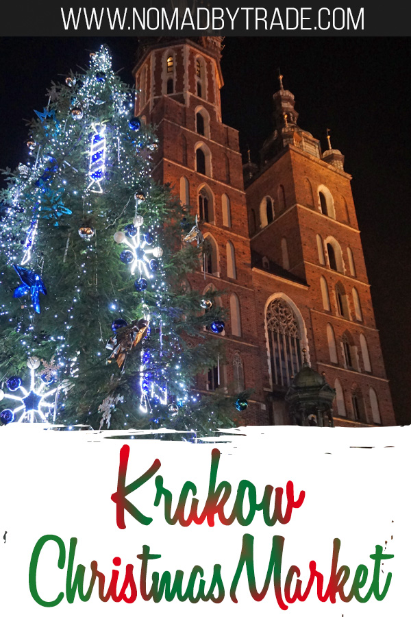 St. Mary's Basilica with Christmas decorations and text overlay