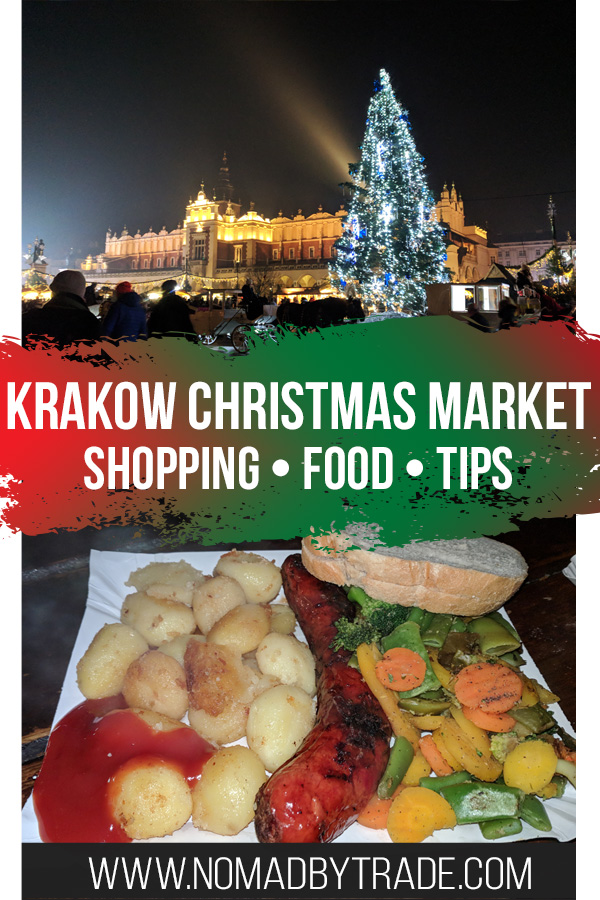 """Photo collage with text overlay reading """"Krakow Christmas Market - shopping - food - tips"""""""