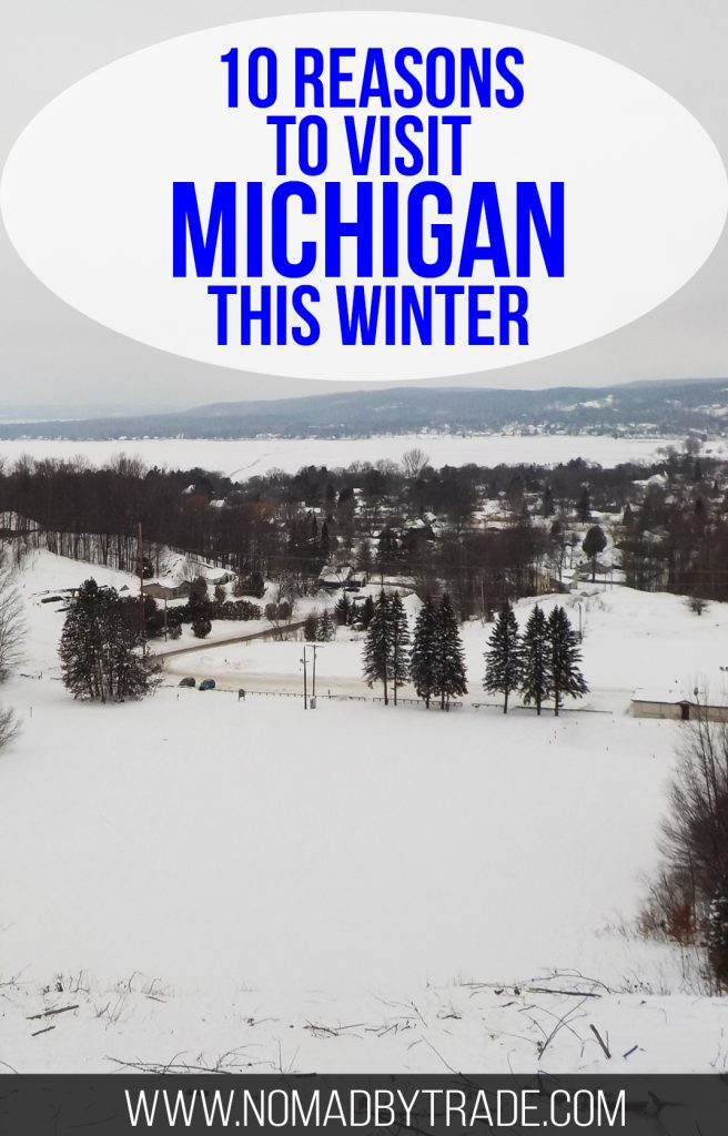 """Snowy landscape with text overlay reading """"10 reasons to visit Michigan this winter"""""""