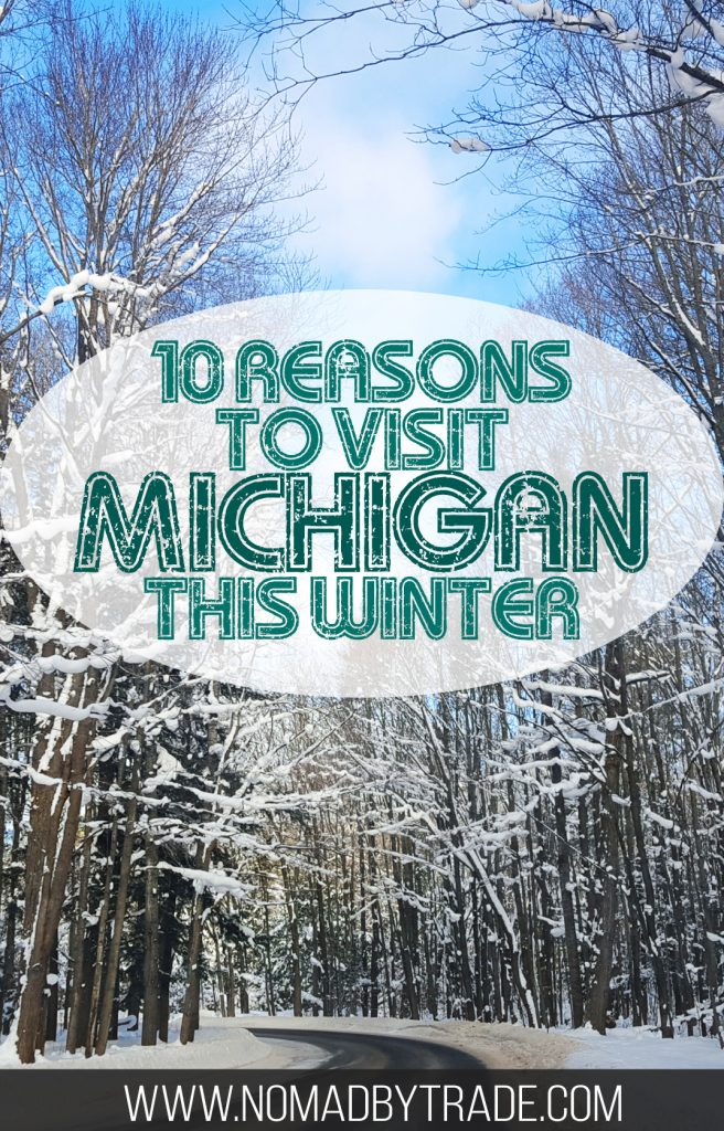"""Snowy, tree-lined road with text overlay reading """"10 reasons to visit Michigan this winter"""""""