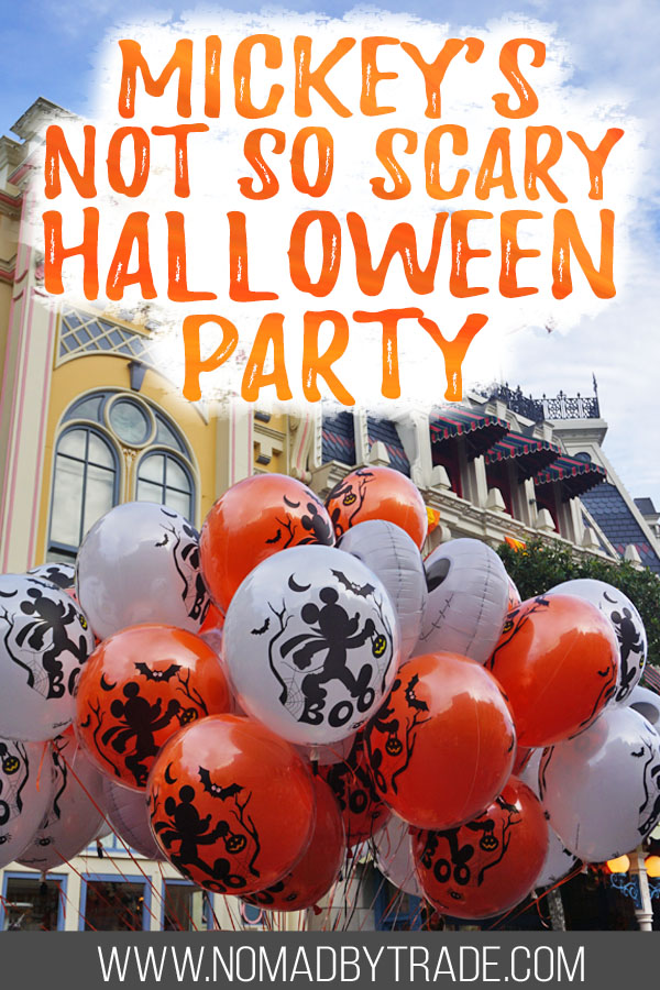 """Halloween Mickey balloons with text overlay reading """"Mickey's Not so Scary Halloween Party"""""""