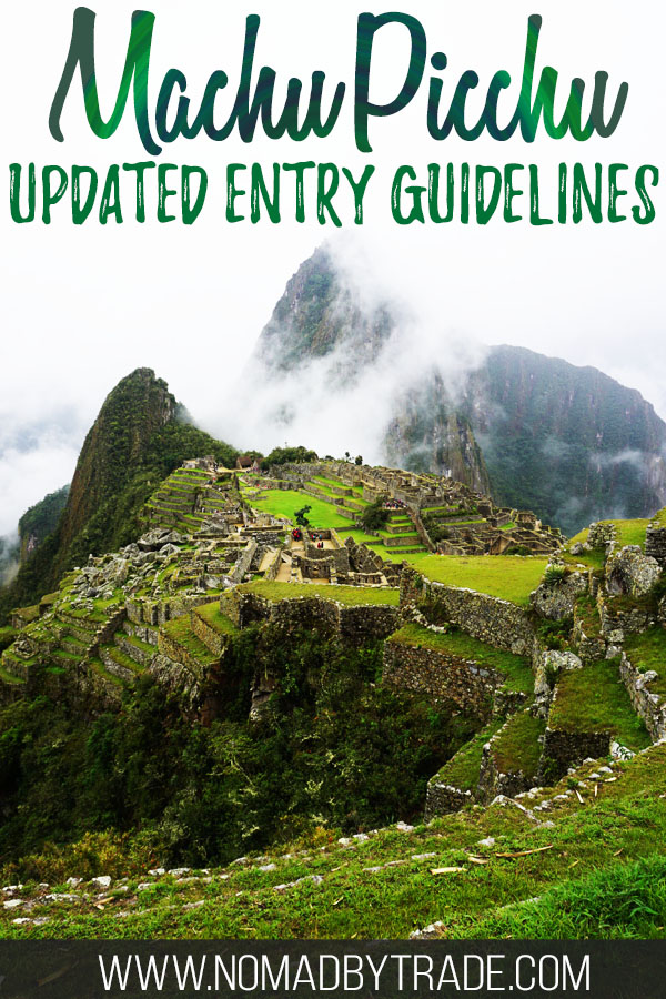 """Photo of Machu Picchu with text overlay reading """"Machu Picchu updated entry guidelines"""""""