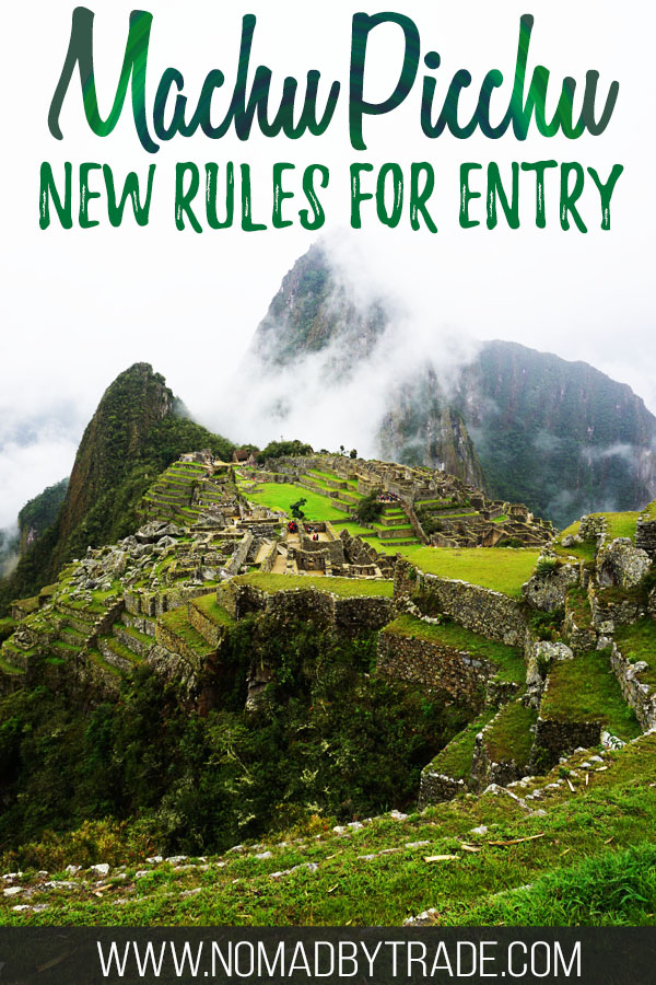 """Photo of Machu Picchu with text overlay reading """"Machu Picchu new rules for entry"""""""