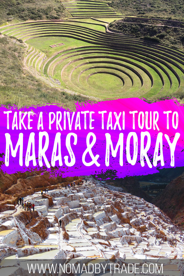 """Photo collage of Moray and Maras with text overlay reading """"Take a private taxi tour to Maras & Moray"""""""
