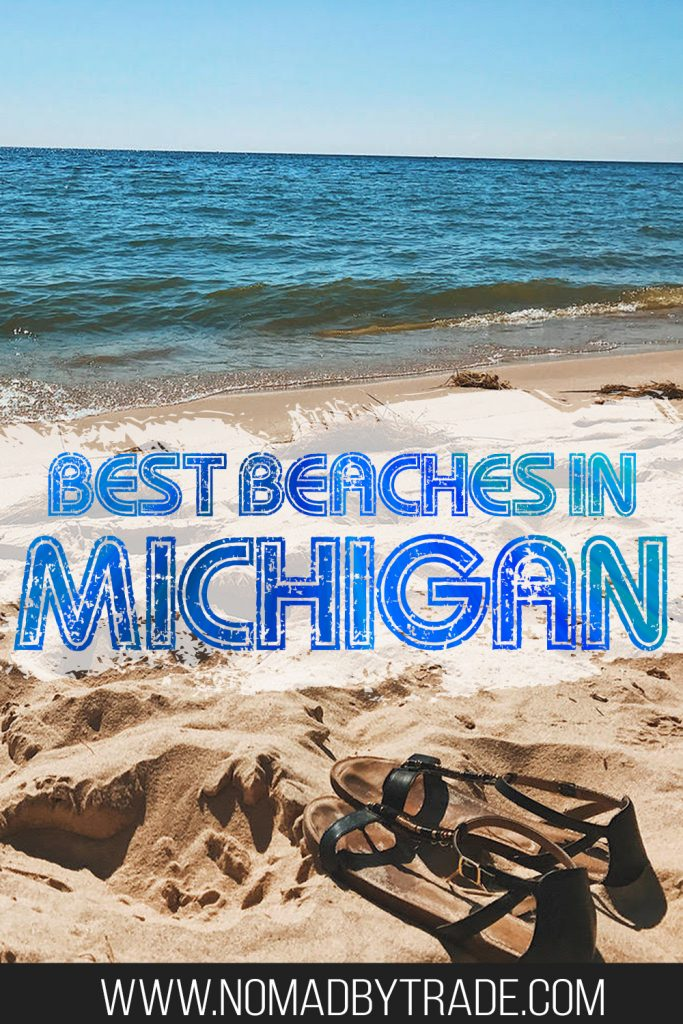 """Sandals on a beach on Lake Michigan with text overlay reading """"Best Beaches in MIchigan"""""""