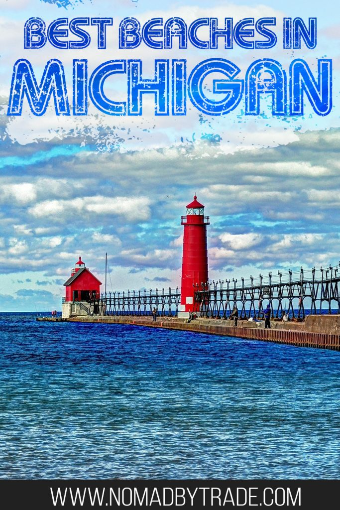 """Lighthouse amid blue waters with text overlay reading """"Best beaches in Michigan"""""""