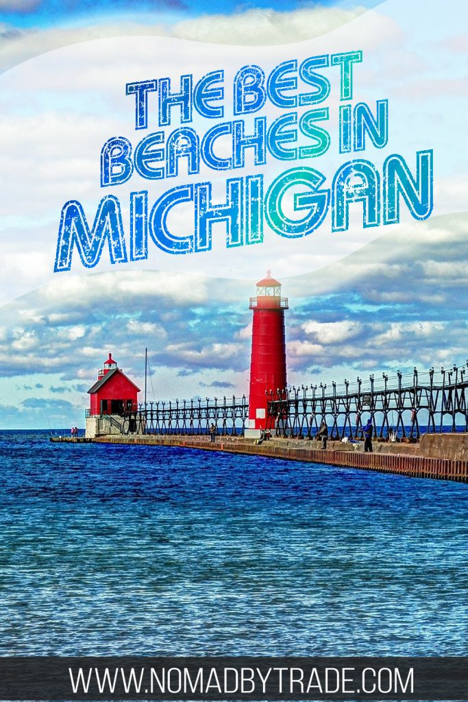 """Red lighthouse in Michigan with text overlay reading """"The best beaches in Michigan"""""""
