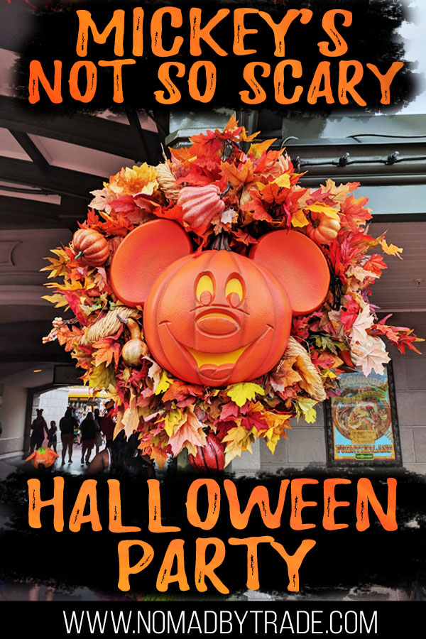 """Mickey Halloween wreath with text overlay reading """"Mickey's Not so Scary Halloween Party"""""""