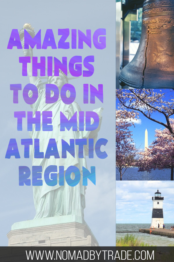 """Photo collage with text overlay reading """"Amazing things to do in the Mid Atlantic region"""""""