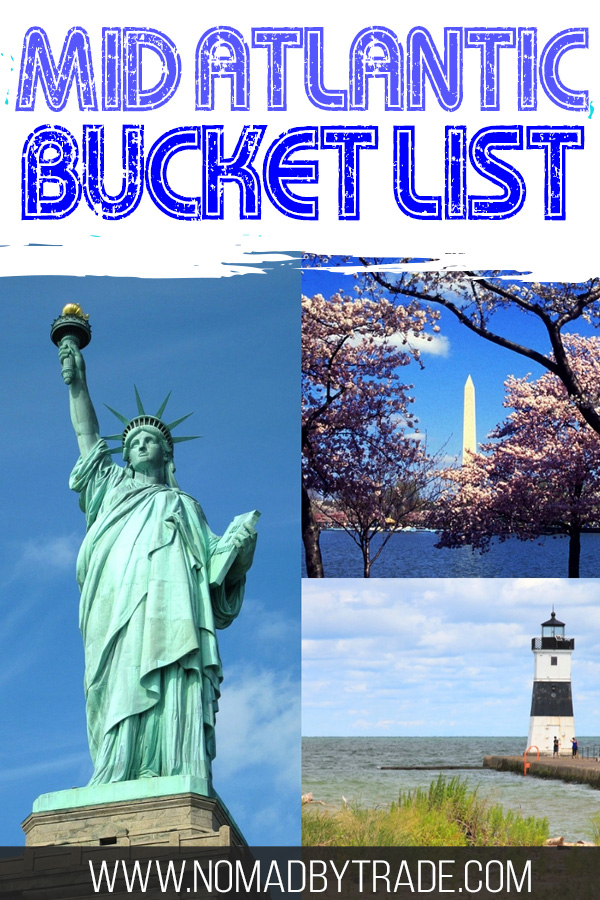 """Photo collage with text overlay reading """"Mid Atlantic Bucket List"""""""