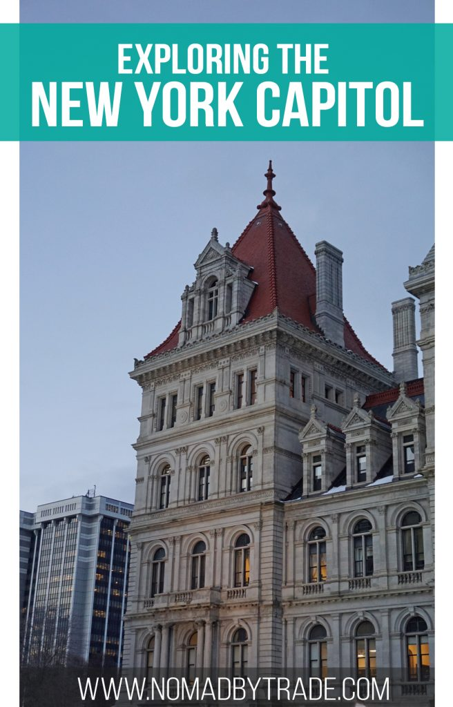 The New York State Capitol building in Albany, New York is full of beautiful architectural touches. Visitors can tour the historic building for free during daily hours. #Albany | #NewYork | Free things to do in Albany