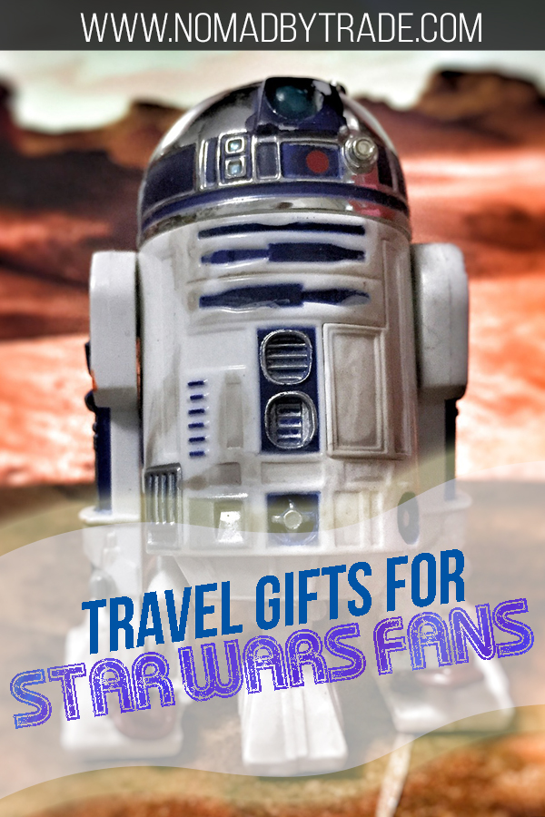 """R2-D2 action figure with text overlay reading """"Travel gifts for Star Wars fans"""""""
