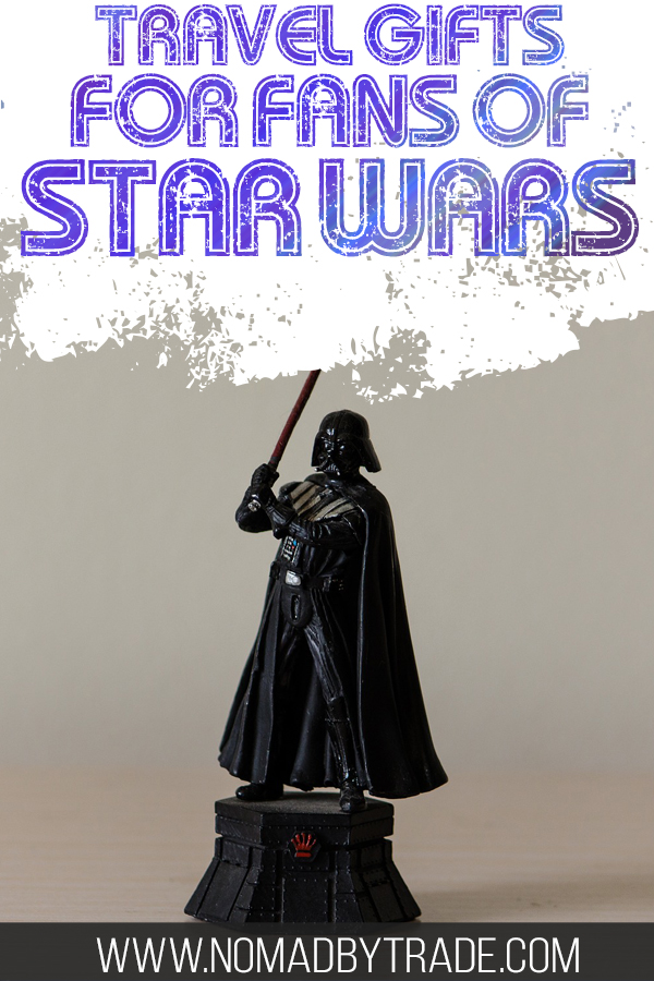 """Darth Vader action figure with text overlay reading """"Travel gifts for fans of Star Wars"""""""