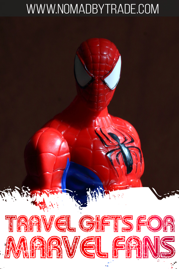 """Photo of Spiderman action figure with text overlay reading """"Travel gifts for Marvel fans"""""""