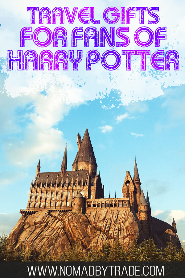 """Photo of Hogwarts with text overlay reading """"Travel gifts for fans of Harry Potter"""""""