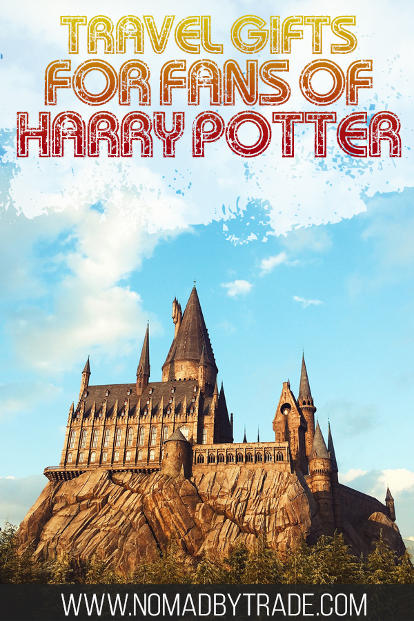 """Photo of Hogwarts with text overlay reading """"Travel gifts for fans of Harry Potter'"""