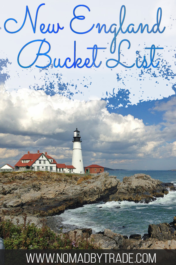 """Lighthouse along a rocky shore with text overlay reading """"New England Bucket List"""""""