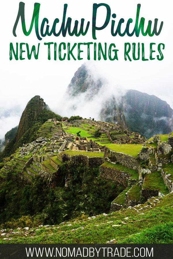 "Photo of Machu Picchu with text overlay reading ""Machu Picchu new ticketing rules"""