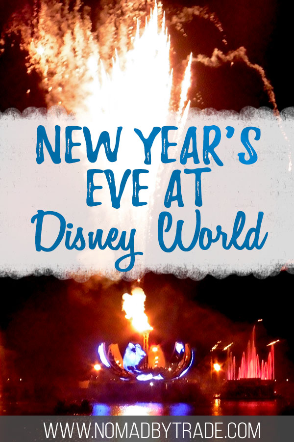 """Epcot fireworks with text overlay reading """"New Year's Eve at Disney World"""""""
