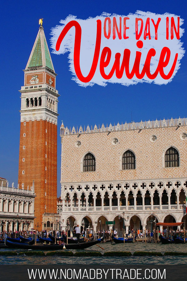 "Doge's Palace with text overlay reading ""One day in Venice"""