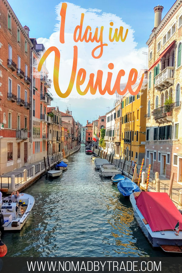 "Canal in Venice with text overlay reading ""1 day in Venice"""