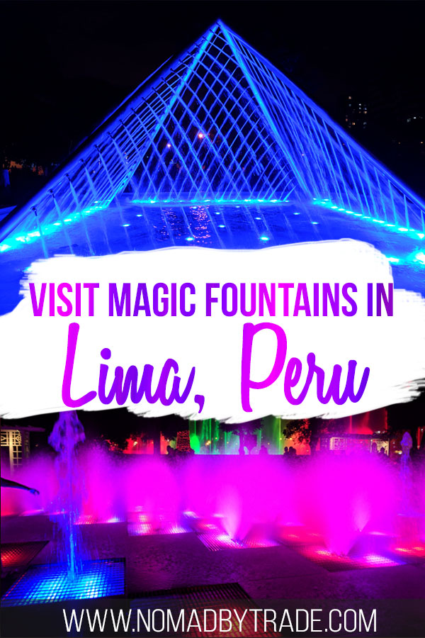 Brightly colored fountains at the Parque de la Reserva with text overlay