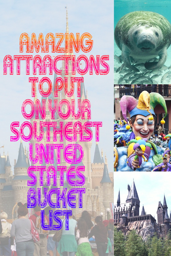 Photo collage of things to do in the Southeast United States with text overlay