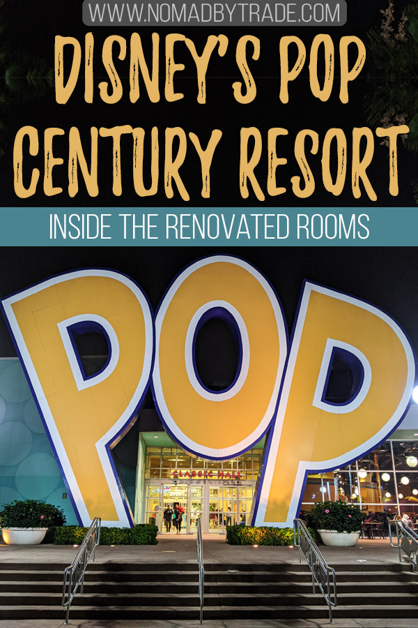 "Photo of Pop Century Resort with text overlay reading ""Disney's Pop Century Resort - inside the renovated rooms"""