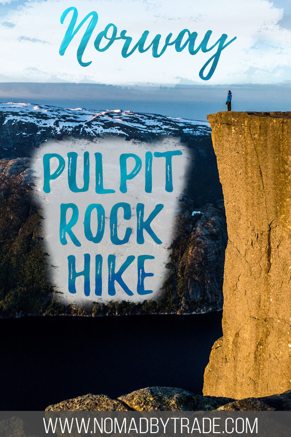 """Person standing on Norway's Pulpit Rock with text overlay reading """"Norway Pulpit Rock hike"""""""