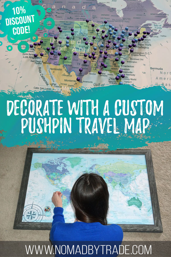 Photo collage of a travel map and woman placing pushpins on it with text overlay reading