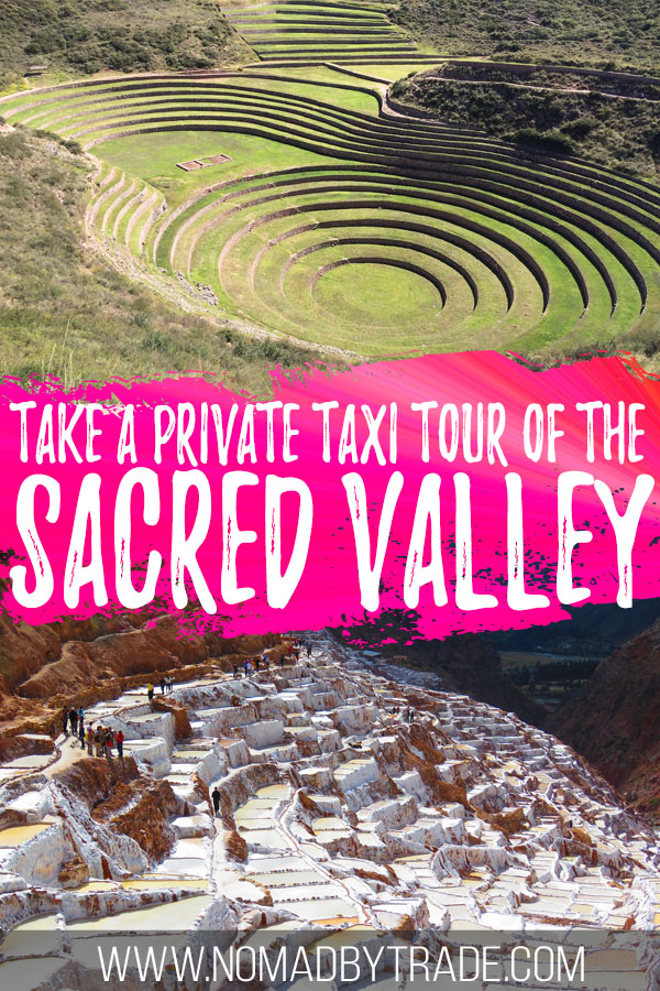 """Photo collage of Moray and Maras with text overlay reading """"Take a private taxi tour of the Sacred Valley"""""""