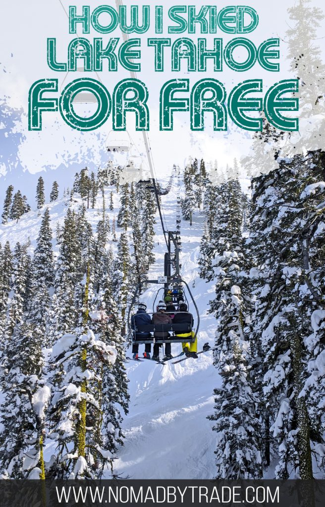 Skiing at Lake Tahoe can be expensive, but there's a way to hit the slopes for free. Find out how I used this secret deal to get a free lift ticket to ski at Squaw Valley. | #LakeTahoe | #California | #Nevada | #USA | Lake Tahoe skiing deals | Cheap lift tickets | Squaw Valley deals | Alpine Meadows | Sierra-at-Tahoe | lift ticket deals