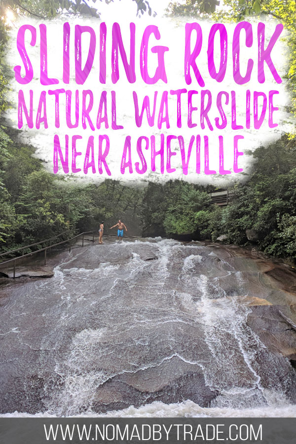 """Photo of Sliding Rock with text overlay reading """"Sliding Rock natural waterslide near Asheville"""""""