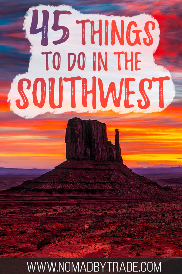 Sunset over Monument Valley rock formations with text overlay