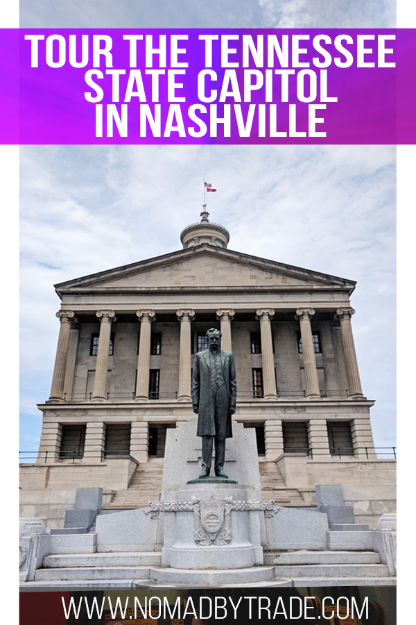 Tennessee state capitol entrance with text overlay