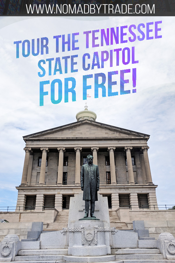 Tennessee state capitol building entrance with text overlay