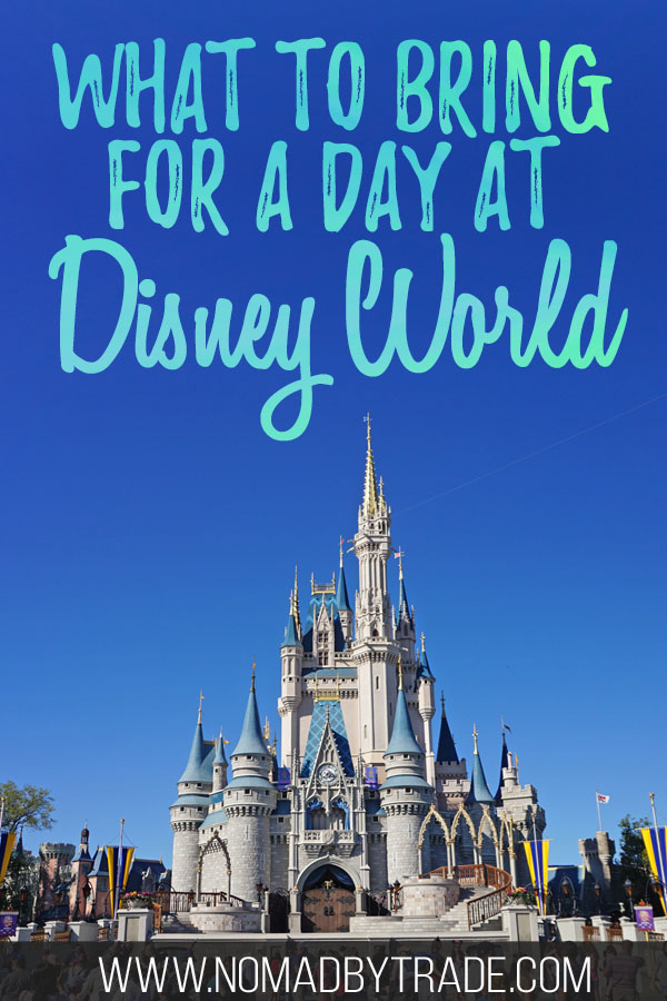 """Photo of Cinderella Castle at Disney World with text overlay reading """"What to bring for a day at Disney World"""""""