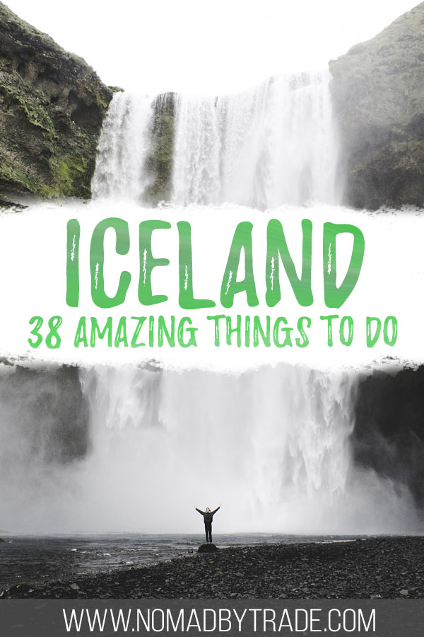 """Photo of Skogafoss with text overlay reading """"Iceland - 38 amazing things to do"""""""