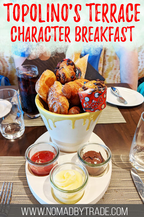 """Art-themed pastries and spreads with text overlay reading """"Topolino's Terrace character breakfast"""""""
