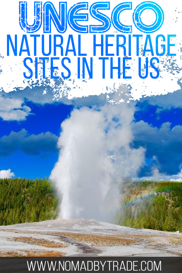 Old Faithful erupting with text overlay