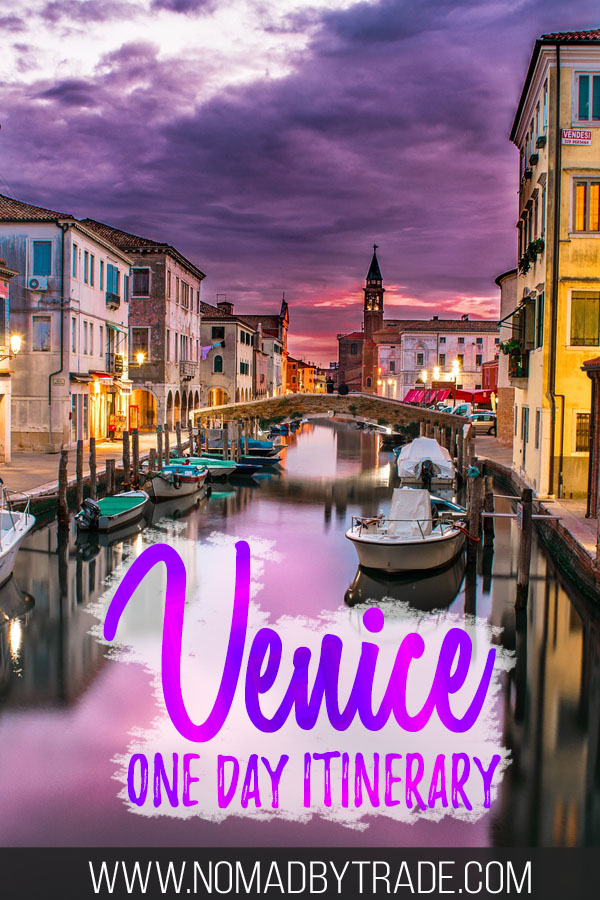 "Dusky skies over Venice with text overlay reading ""Venice one day itinerary"""